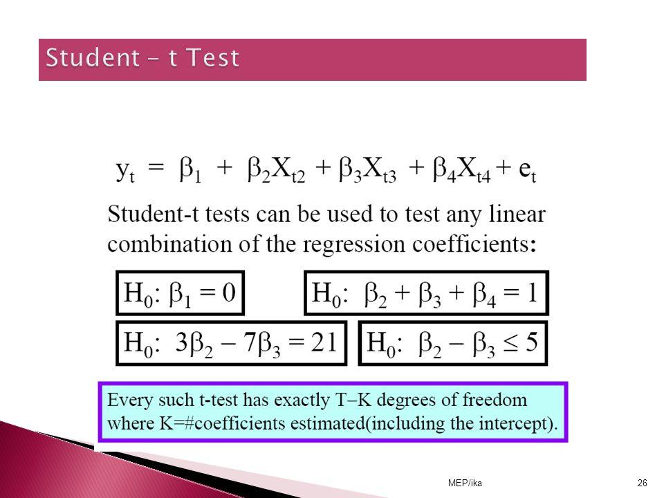 Student - t Test MEP/ika