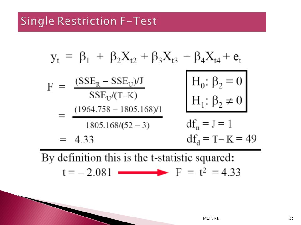 Single Restriction F-Test