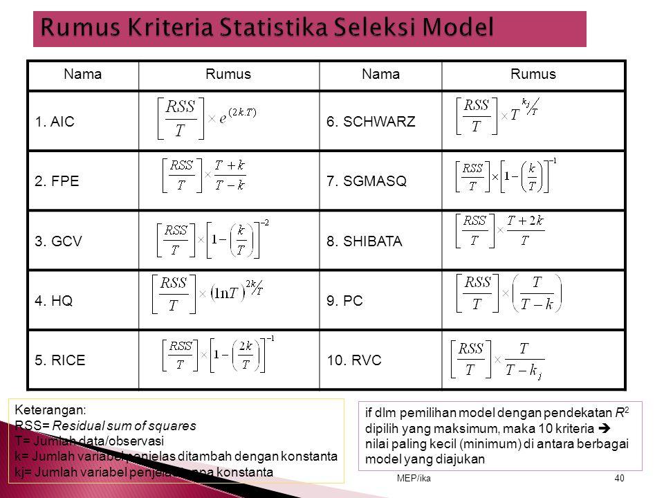 Rumus Kriteria Statistika Seleksi Model