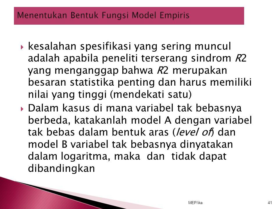 Menentukan Bentuk Fungsi Model Empiris