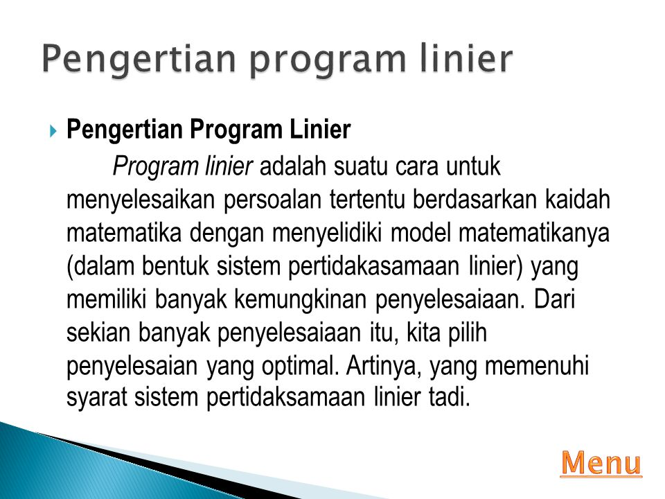 Pengertian program linier