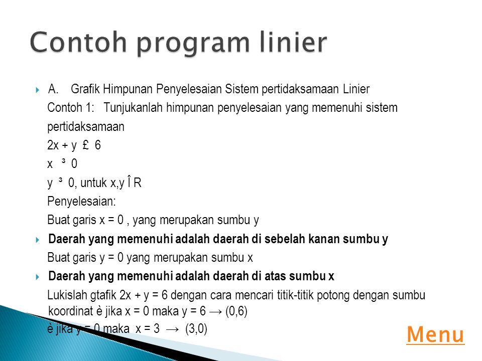 Contoh program linier Menu