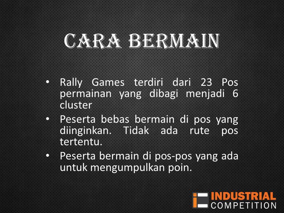 CARA BERMAIN Rally Games terdiri dari 23 Pos permainan yang dibagi menjadi 6 cluster.
