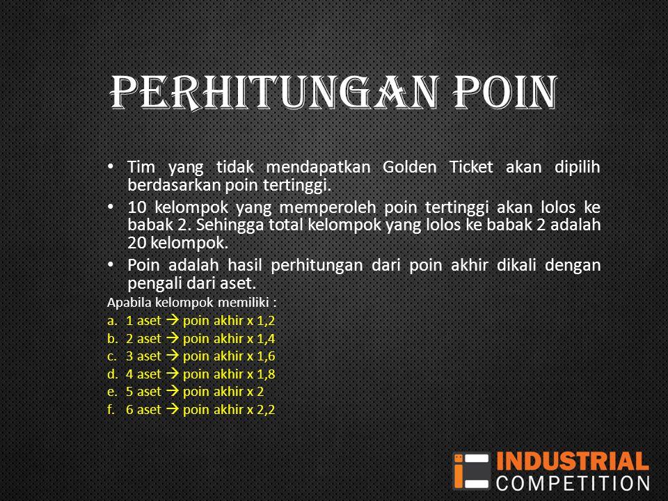 PERHITUNGAN POIN Tim yang tidak mendapatkan Golden Ticket akan dipilih berdasarkan poin tertinggi.