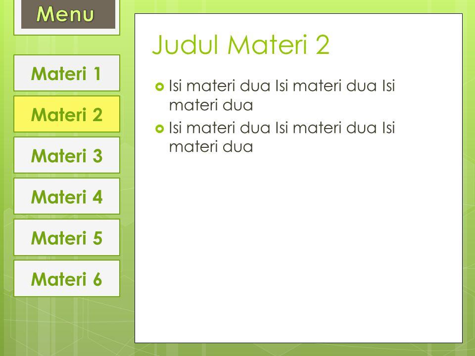 Judul Materi 2 Menu Materi 1 Materi 2 Materi 3 Materi 4 Materi 5