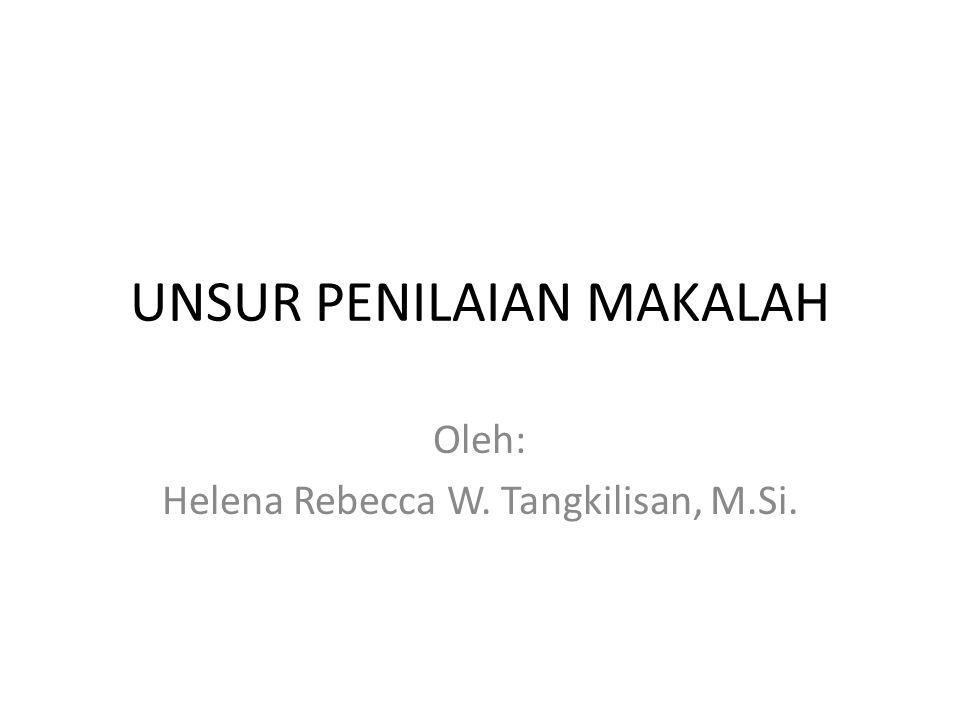 UNSUR PENILAIAN MAKALAH