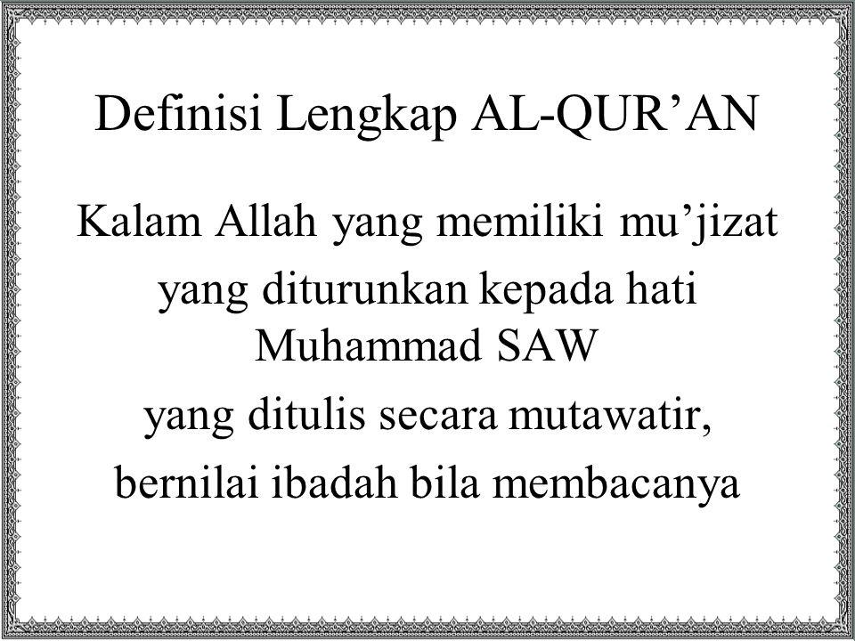Definisi Lengkap AL-QUR'AN