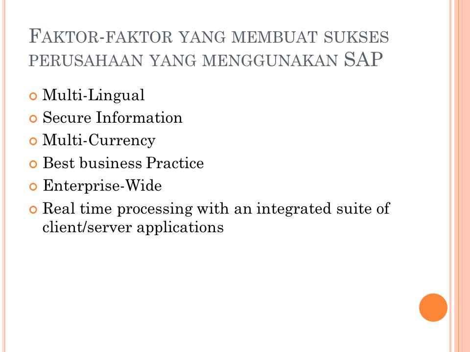 Faktor-faktor yang membuat sukses perusahaan yang menggunakan SAP