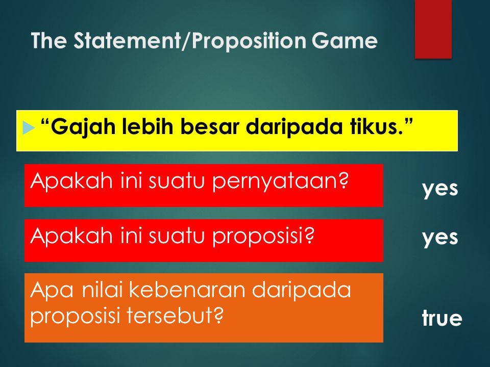 The Statement/Proposition Game