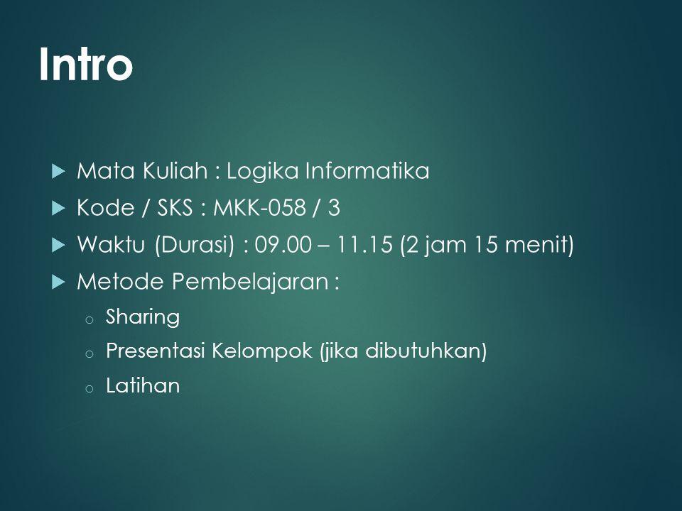 Intro Mata Kuliah : Logika Informatika Kode / SKS : MKK-058 / 3