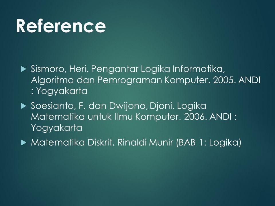Reference Sismoro, Heri. Pengantar Logika Informatika, Algoritma dan Pemrograman Komputer. 2005. ANDI : Yogyakarta.