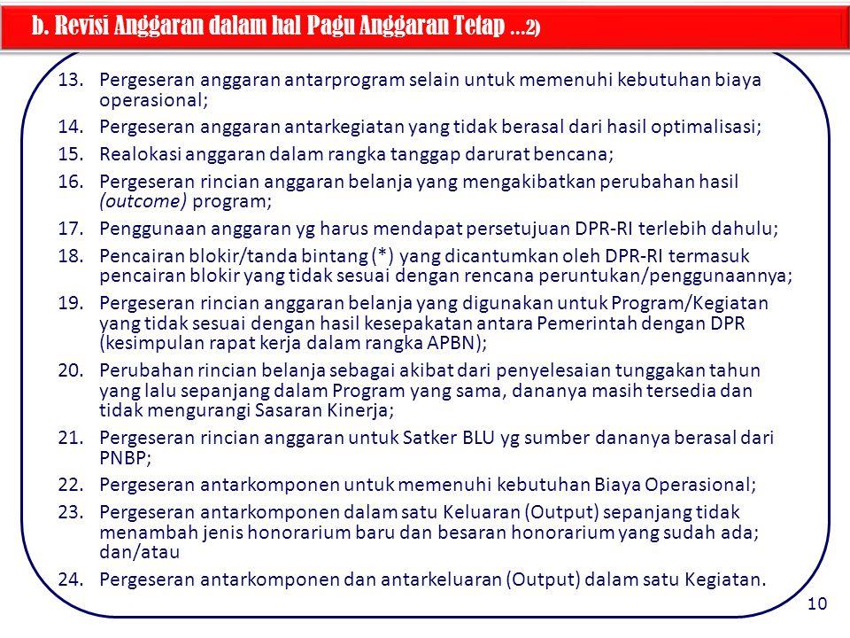 b. Revisi Anggaran dalam hal Pagu Anggaran Tetap ...2)