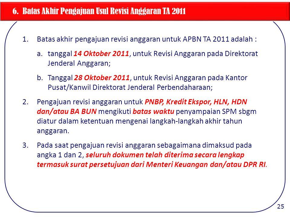 6. Batas Akhir Pengajuan Usul Revisi Anggaran TA 2011