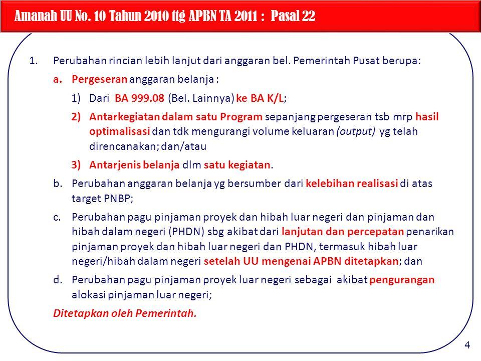 Amanah UU No. 10 Tahun 2010 ttg APBN TA 2011 : Pasal 22