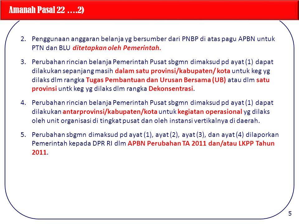 Amanah Pasal 22 ….2) Penggunaan anggaran belanja yg bersumber dari PNBP di atas pagu APBN untuk PTN dan BLU ditetapkan oleh Pemerintah.