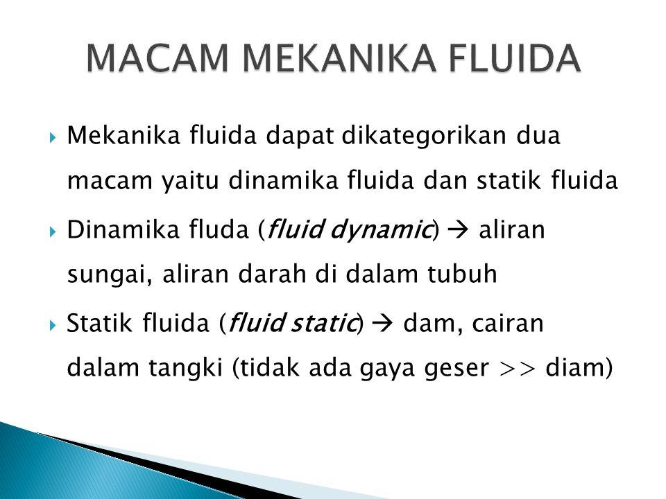 MACAM MEKANIKA FLUIDA Mekanika fluida dapat dikategorikan dua macam yaitu dinamika fluida dan statik fluida.