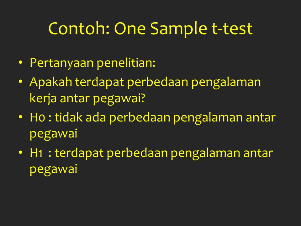 Contoh: One Sample t-test