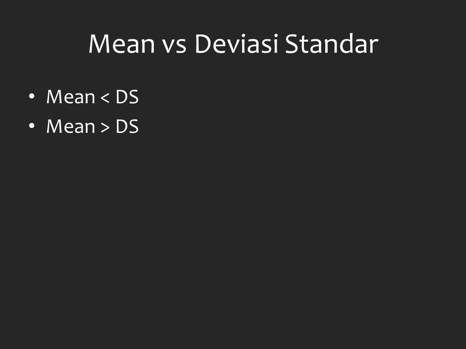Mean vs Deviasi Standar