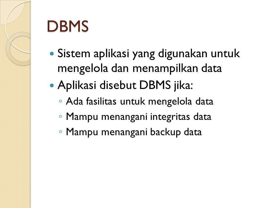 DBMS Sistem aplikasi yang digunakan untuk mengelola dan menampilkan data. Aplikasi disebut DBMS jika: