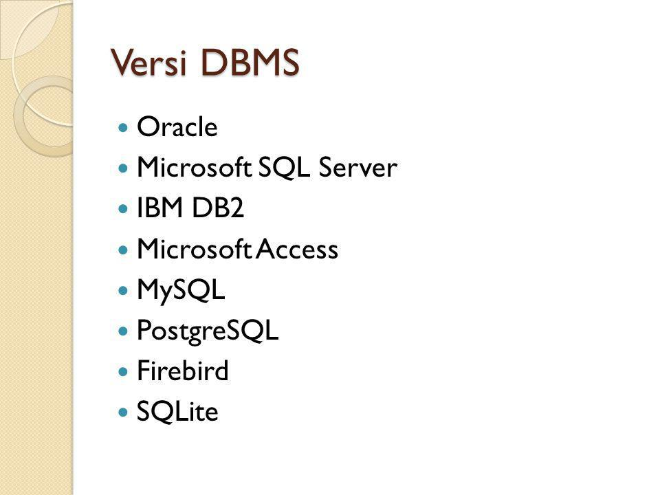 Versi DBMS Oracle Microsoft SQL Server IBM DB2 Microsoft Access MySQL