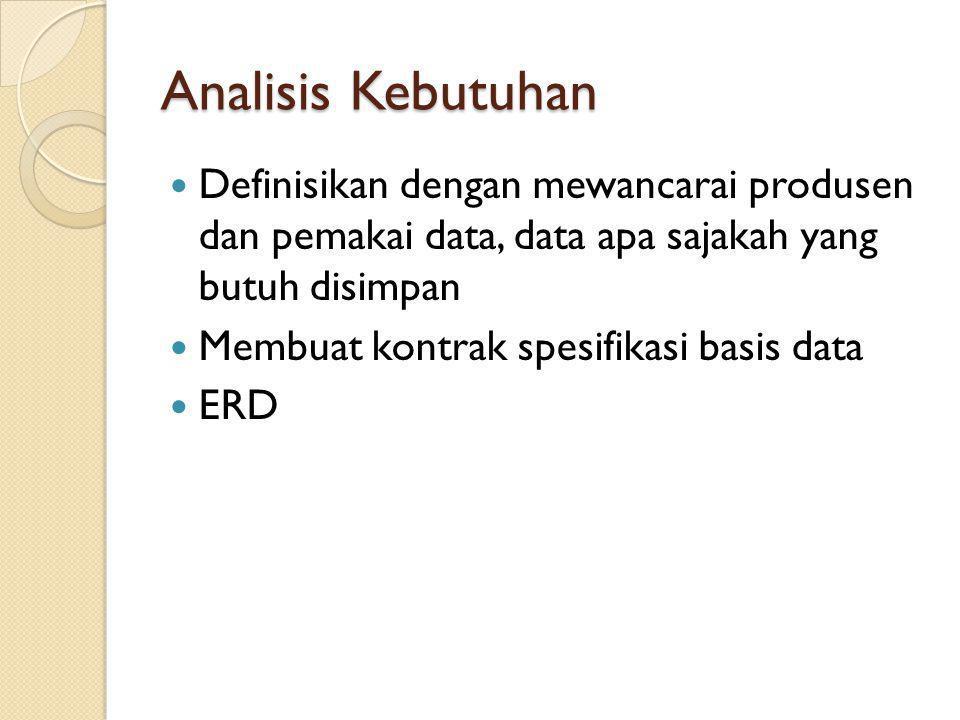 Analisis Kebutuhan Definisikan dengan mewancarai produsen dan pemakai data, data apa sajakah yang butuh disimpan.