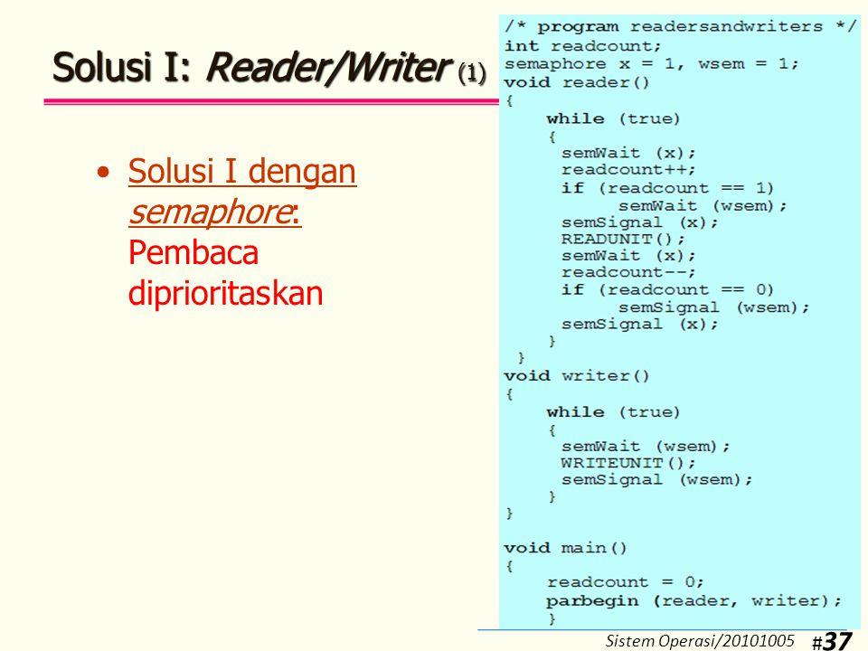 Solusi I: Reader/Writer (2)