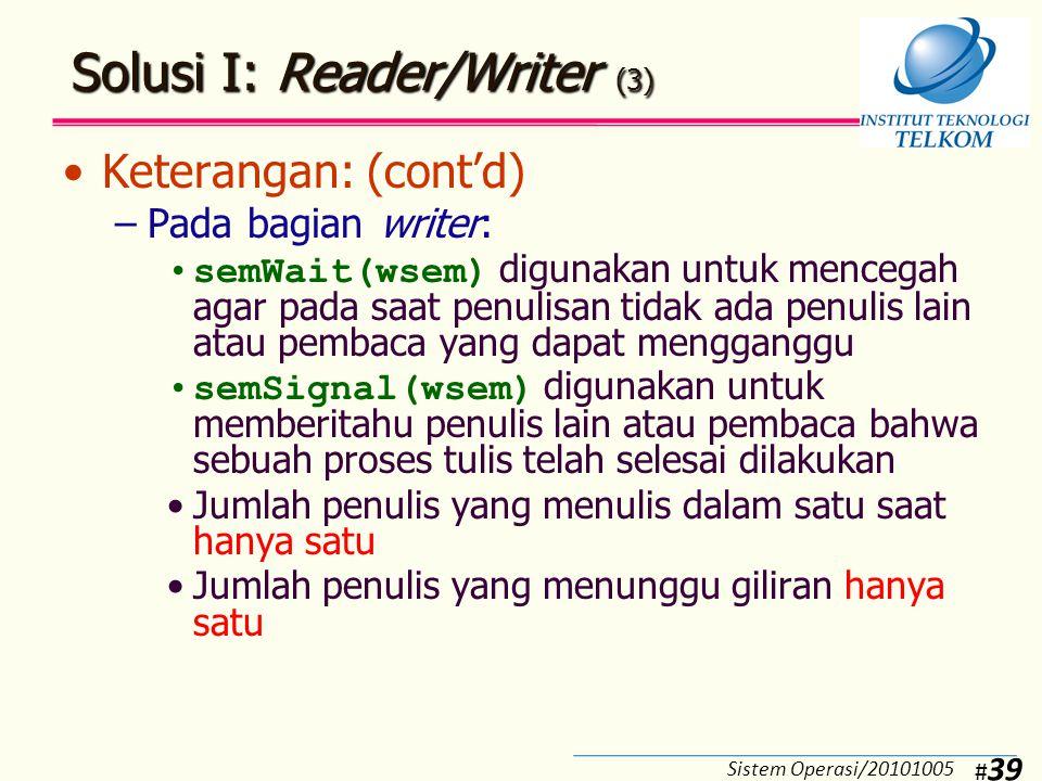 Solusi II: Reader/Writer (1)