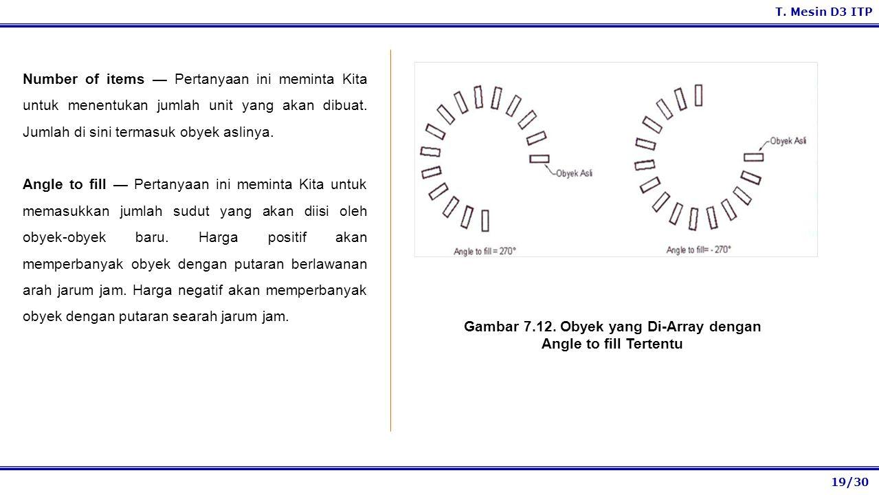 Gambar 7.12. Obyek yang Di-Array dengan Angle to fill Tertentu