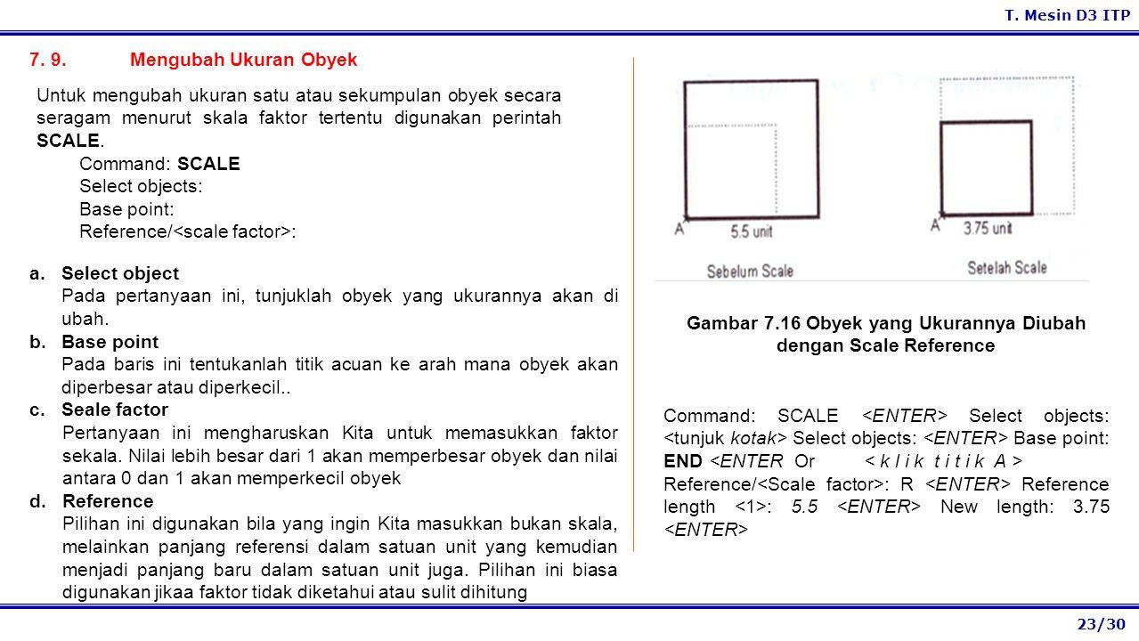 Gambar 7.16 Obyek yang Ukurannya Diubah dengan Scale Reference