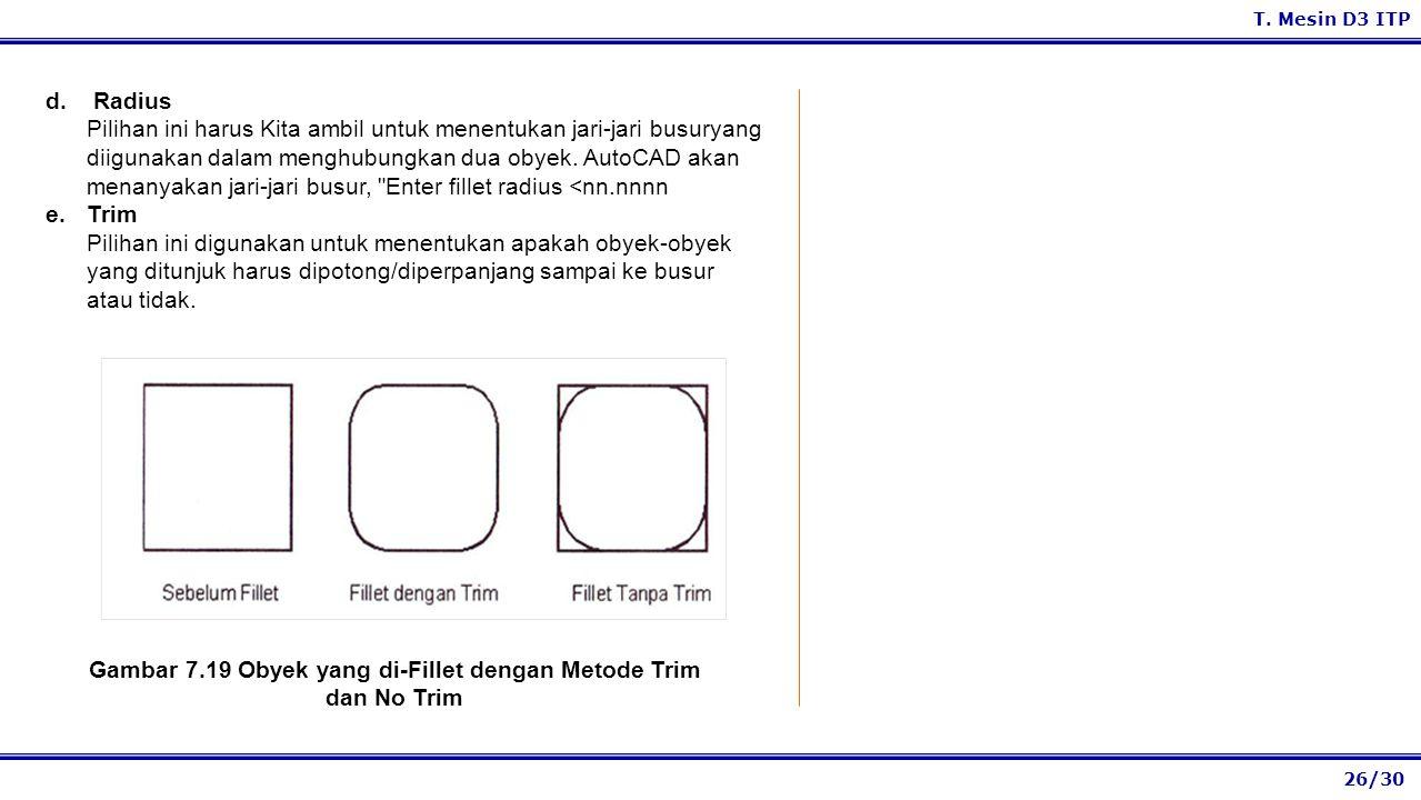 Gambar 7.19 Obyek yang di-Fillet dengan Metode Trim dan No Trim