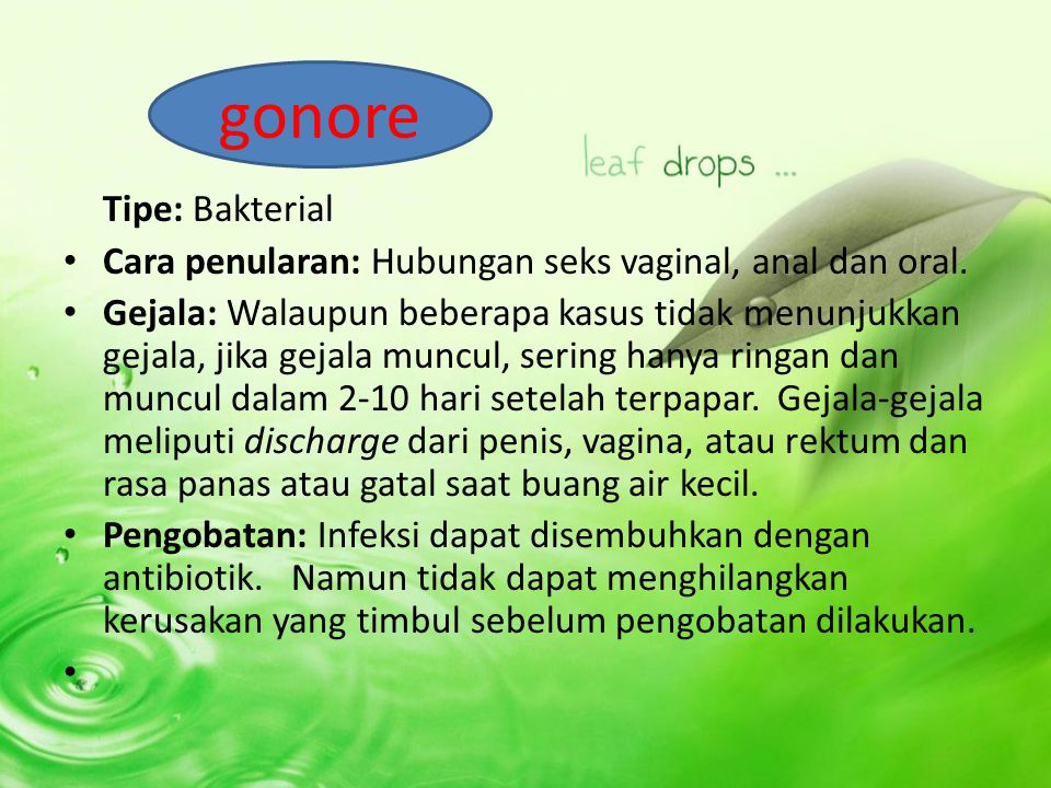 gonore Tipe: Bakterial