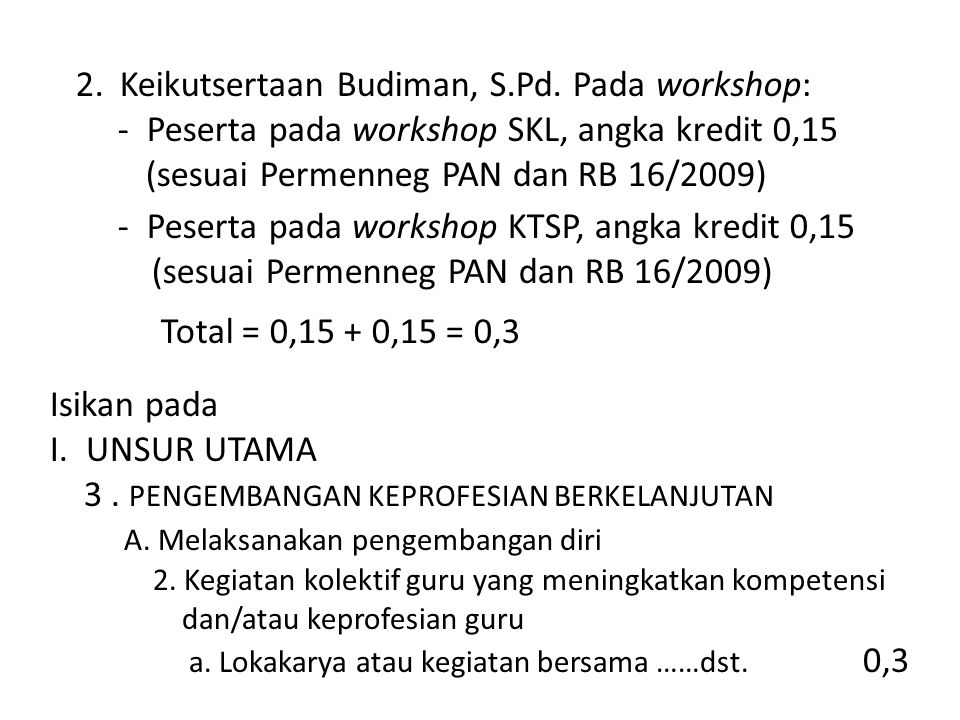 Keikutsertaan Budiman, S.Pd. Pada workshop: