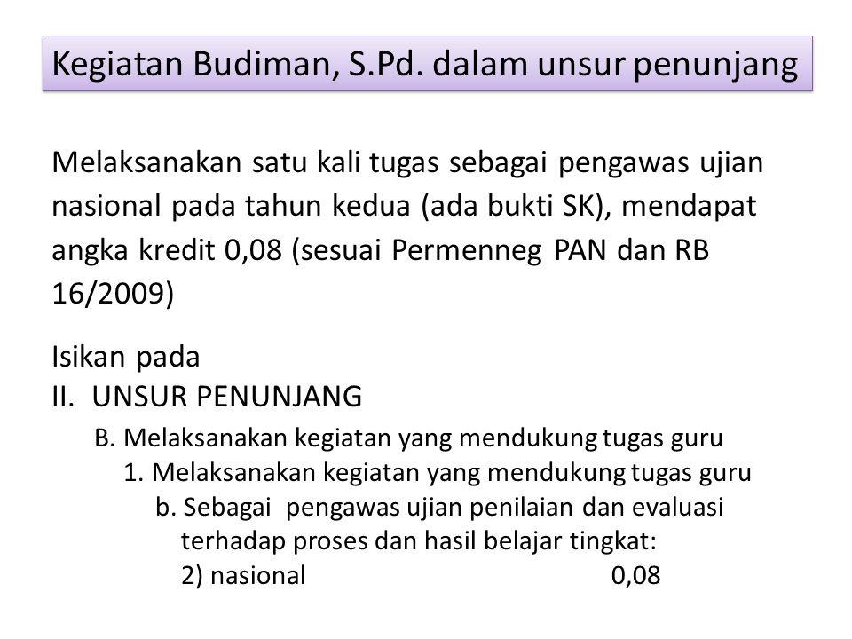 Kegiatan Budiman, S.Pd. dalam unsur penunjang