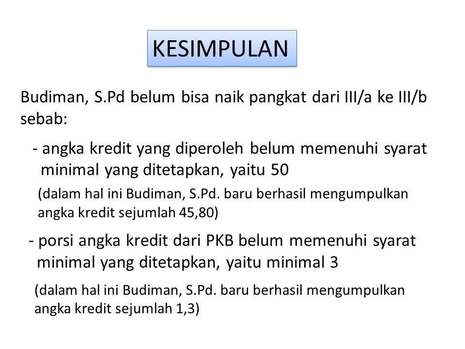 KESIMPULAN Budiman, S.Pd belum bisa naik pangkat dari III/a ke III/b sebab: