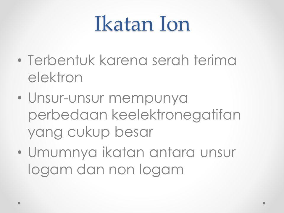 Ikatan Ion Terbentuk karena serah terima elektron