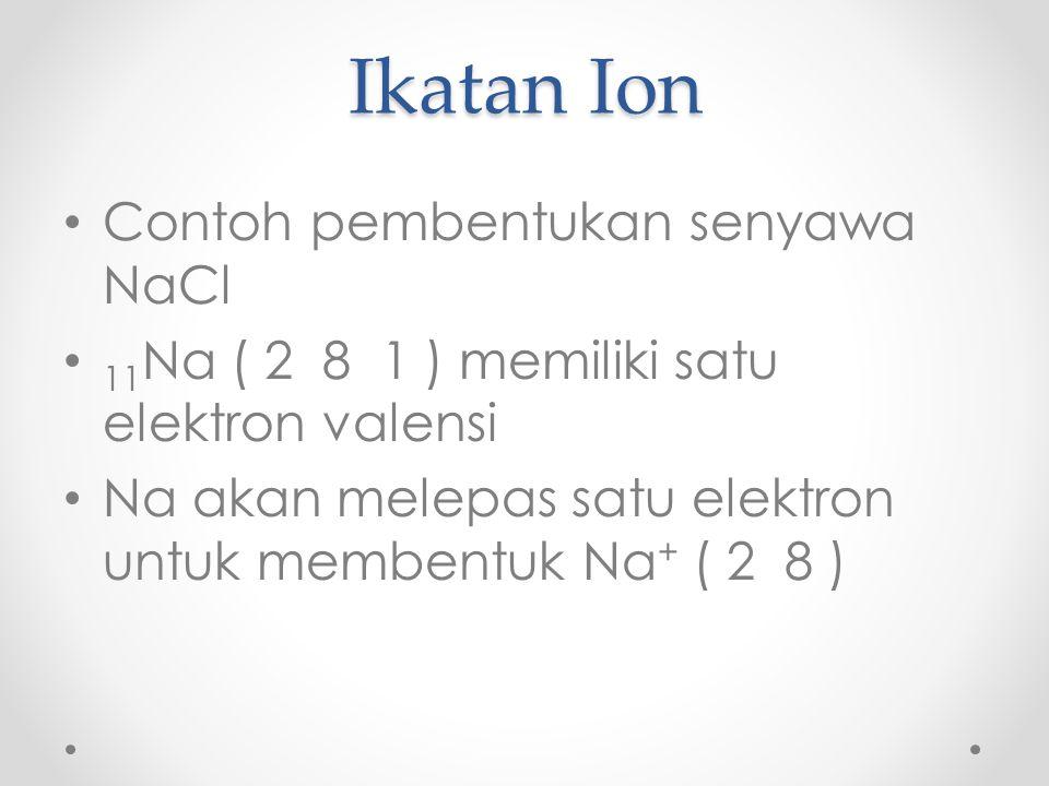 Ikatan Ion Contoh pembentukan senyawa NaCl