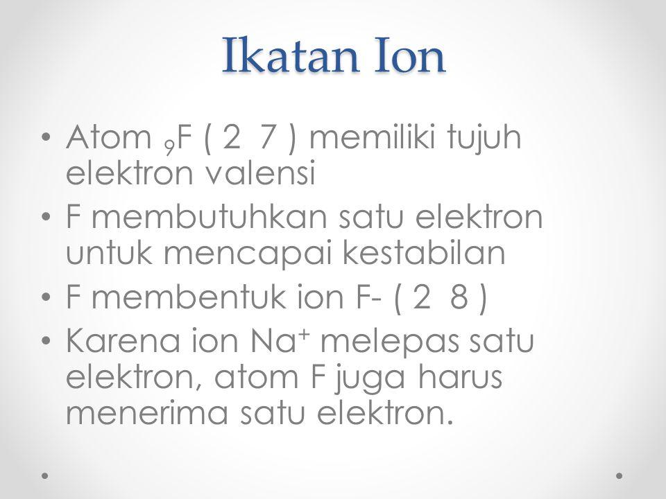 Ikatan Ion Atom 9F ( 2 7 ) memiliki tujuh elektron valensi