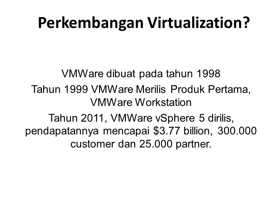 Perkembangan Virtualization