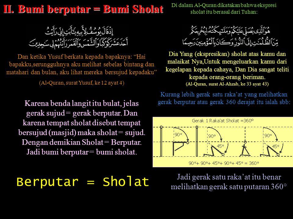 Berputar = Sholat II. Bumi berputar = Bumi Sholat