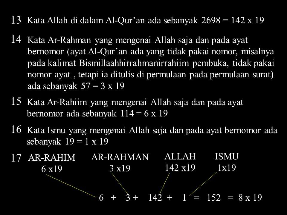 13 Kata Allah di dalam Al-Qur'an ada sebanyak 2698 = 142 x 19. 14.