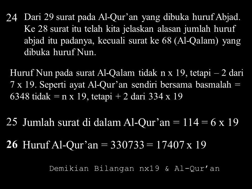 Demikian Bilangan nx19 & Al-Qur'an