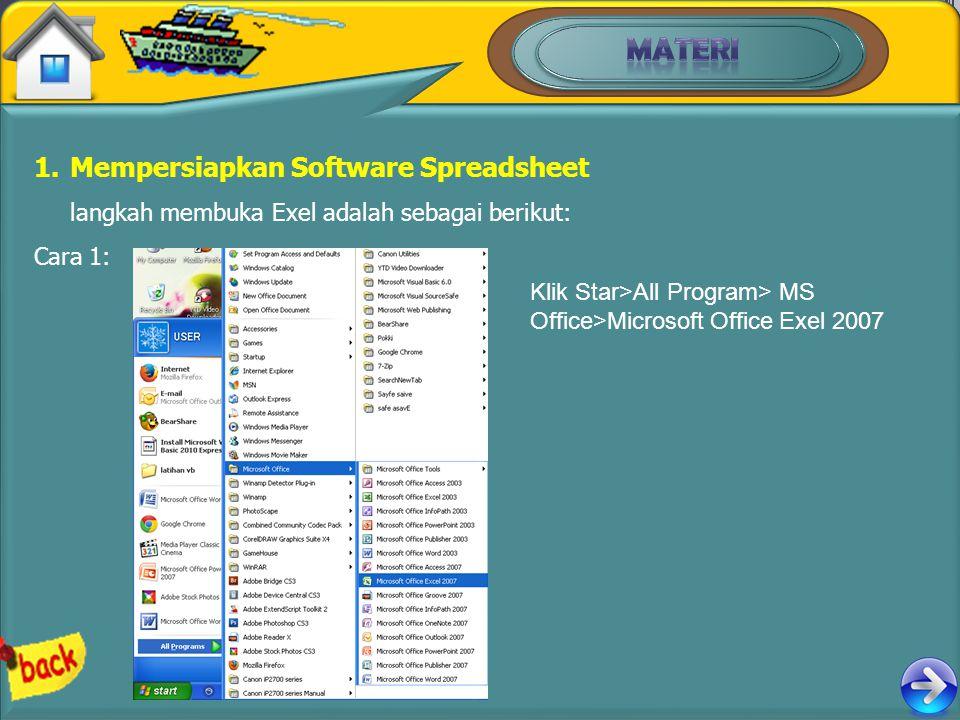 MATERI Mempersiapkan Software Spreadsheet