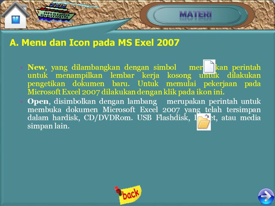 A. Menu dan Icon pada MS Exel 2007