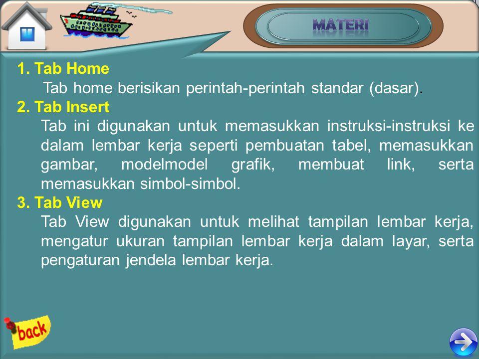 MATERI 1. Tab Home. Tab home berisikan perintah-perintah standar (dasar). 2. Tab Insert.