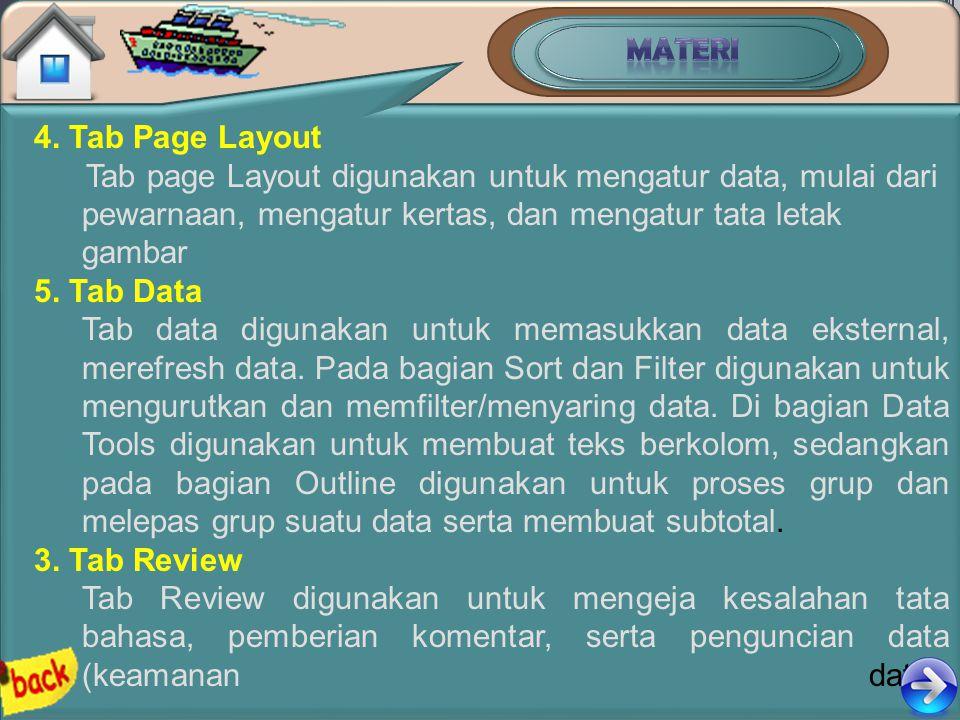 MATERI 4. Tab Page Layout. Tab page Layout digunakan untuk mengatur data, mulai dari pewarnaan, mengatur kertas, dan mengatur tata letak gambar.