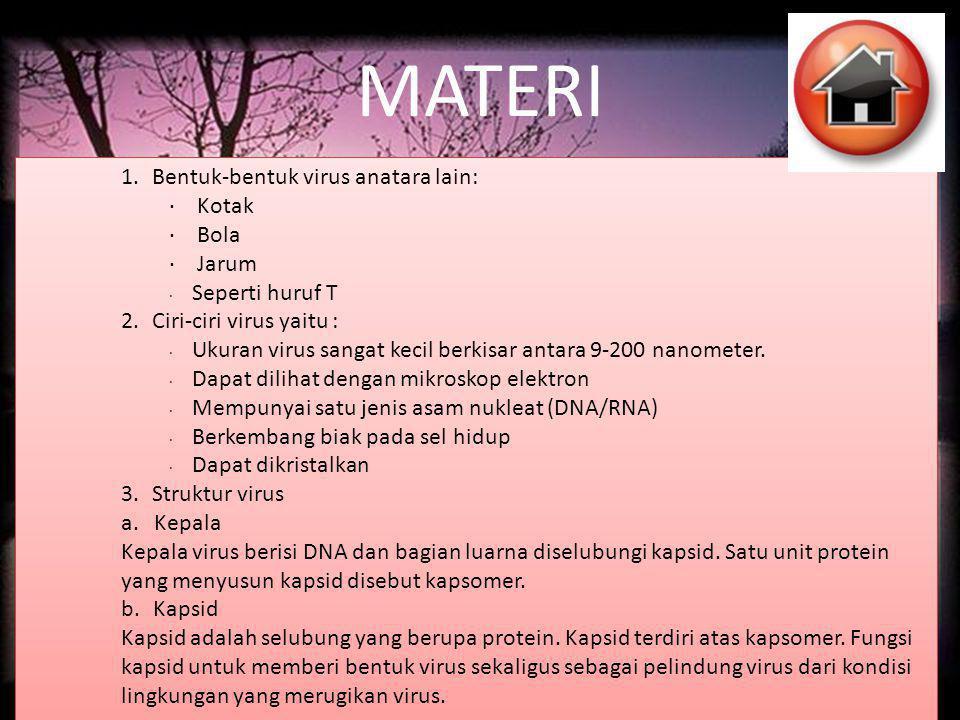 MATERI 1. Bentuk-bentuk virus anatara lain: · Kotak · Bola · Jarum