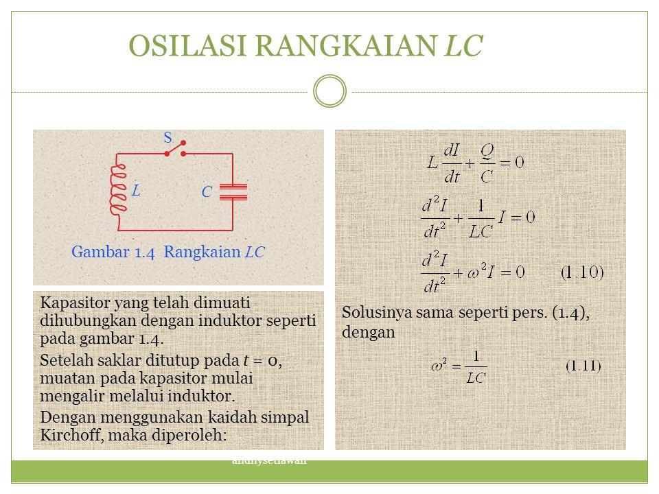 OSILASI RANGKAIAN LC S L C Solusinya sama seperti pers. (1.4), dengan