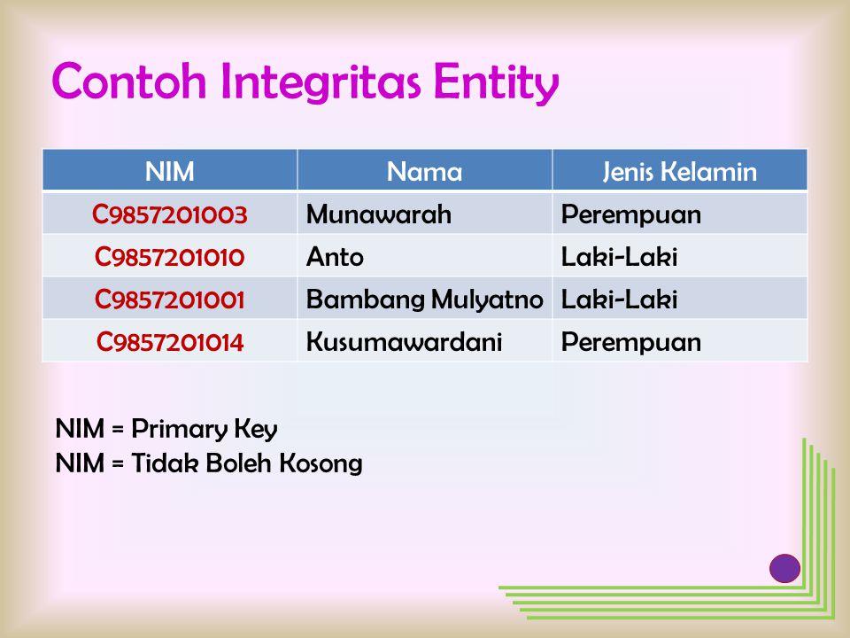Contoh Integritas Entity