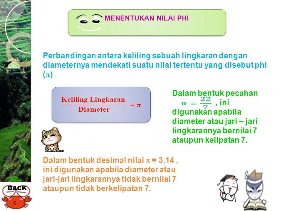 MENENTUKAN NILAI PHI Perbandingan antara keliling sebuah lingkaran dengan diameternya mendekati suatu nilai tertentu yang disebut phi ()