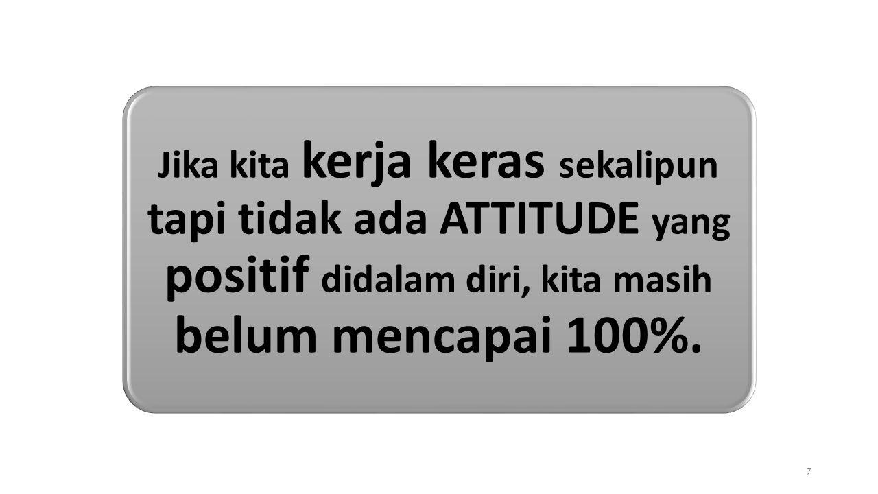 Jika kita kerja keras sekalipun tapi tidak ada ATTITUDE yang positif didalam diri, kita masih belum mencapai 100%.